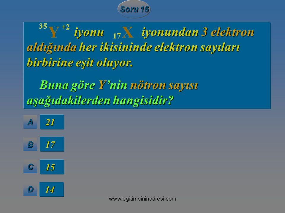 Buna göre Y'nin nötron sayısı aşağıdakilerden hangisidir