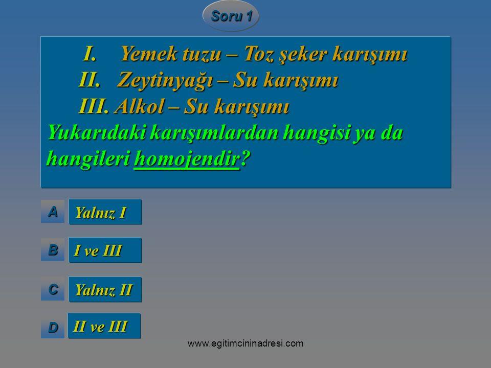 II. Zeytinyağı – Su karışımı III. Alkol – Su karışımı