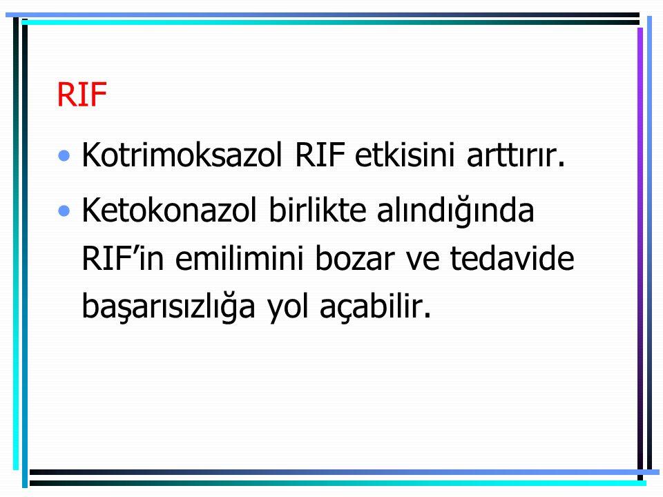 RIF Kotrimoksazol RIF etkisini arttırır.