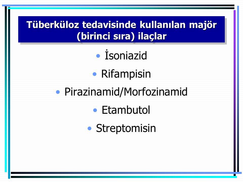 Tüberküloz tedavisinde kullanılan majör (birinci sıra) ilaçlar