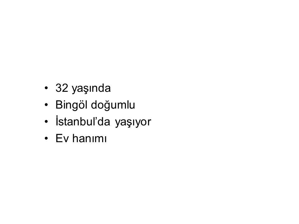 32 yaşında Bingöl doğumlu İstanbul'da yaşıyor Ev hanımı