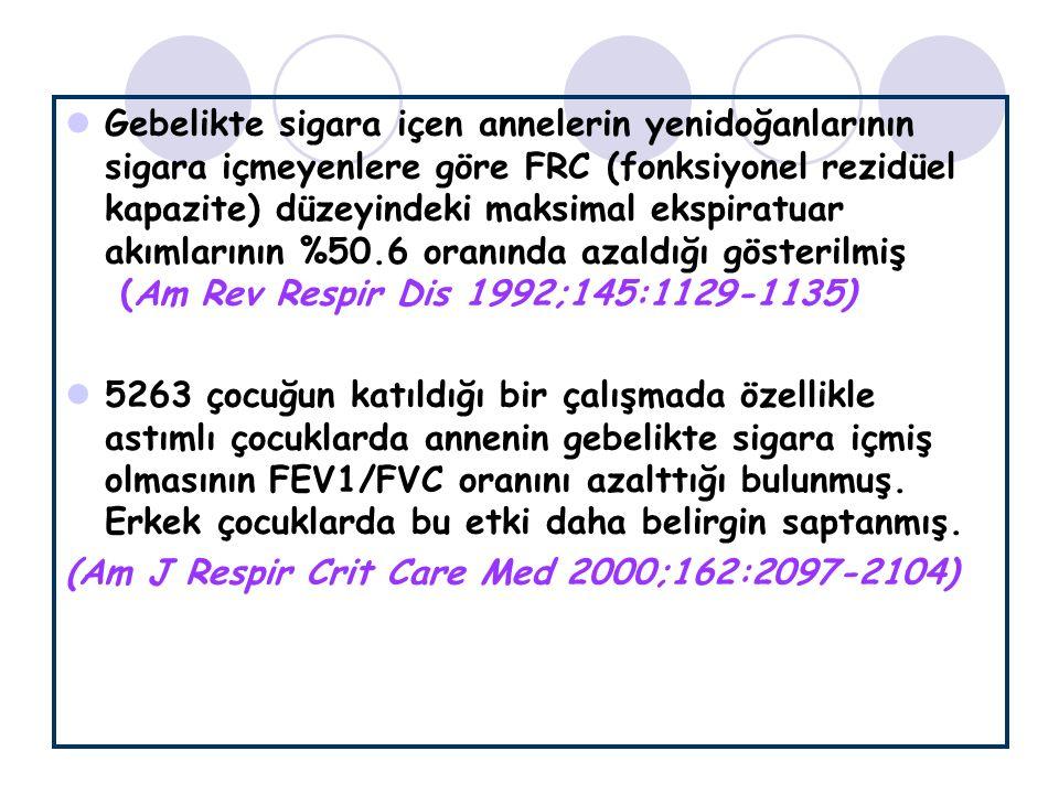 Gebelikte sigara içen annelerin yenidoğanlarının sigara içmeyenlere göre FRC (fonksiyonel rezidüel kapazite) düzeyindeki maksimal ekspiratuar akımlarının %50.6 oranında azaldığı gösterilmiş (Am Rev Respir Dis 1992;145:1129-1135)
