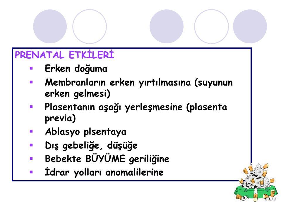 PRENATAL ETKİLERİ Erken doğuma. Membranların erken yırtılmasına (suyunun erken gelmesi) Plasentanın aşağı yerleşmesine (plasenta previa)