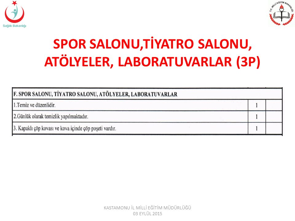 SPOR SALONU,TİYATRO SALONU, ATÖLYELER, LABORATUVARLAR (3P)