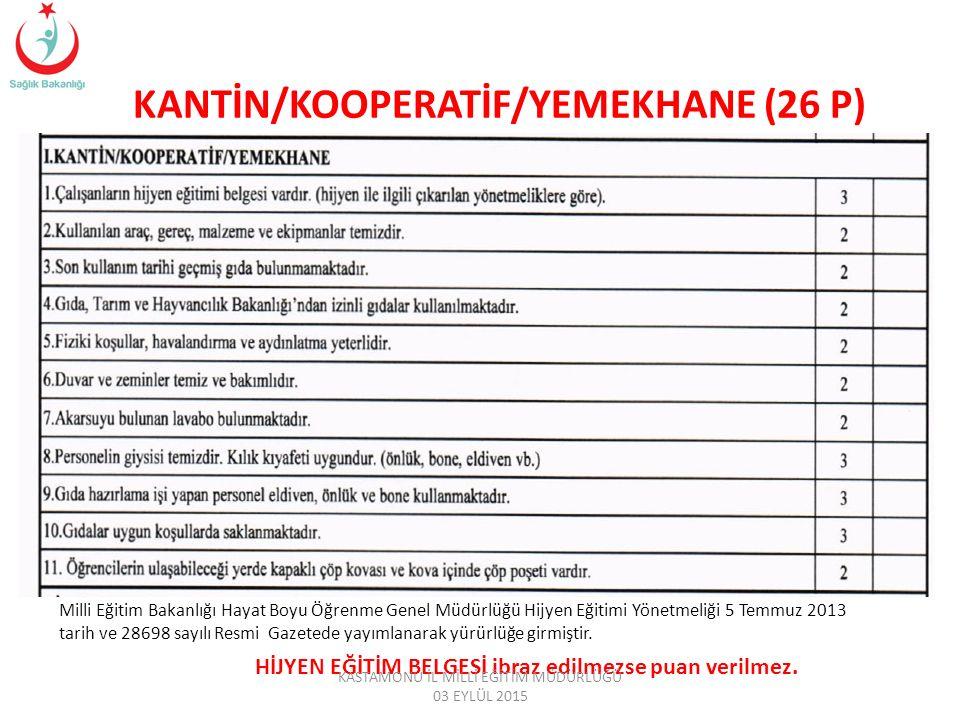 KANTİN/KOOPERATİF/YEMEKHANE (26 P)