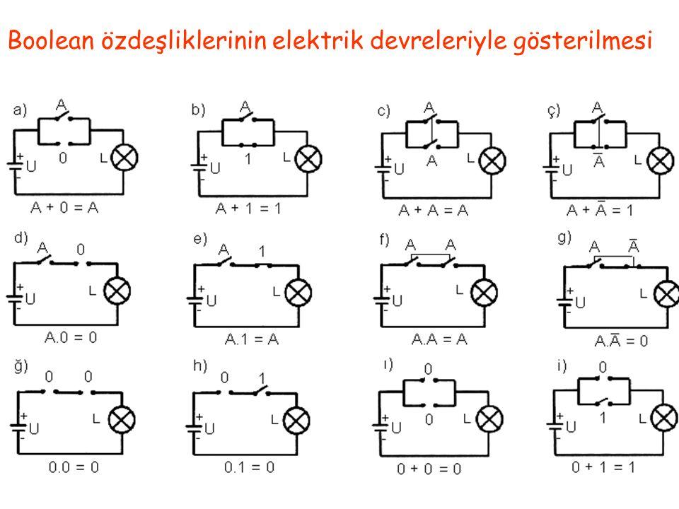 Boolean özdeşliklerinin elektrik devreleriyle gösterilmesi