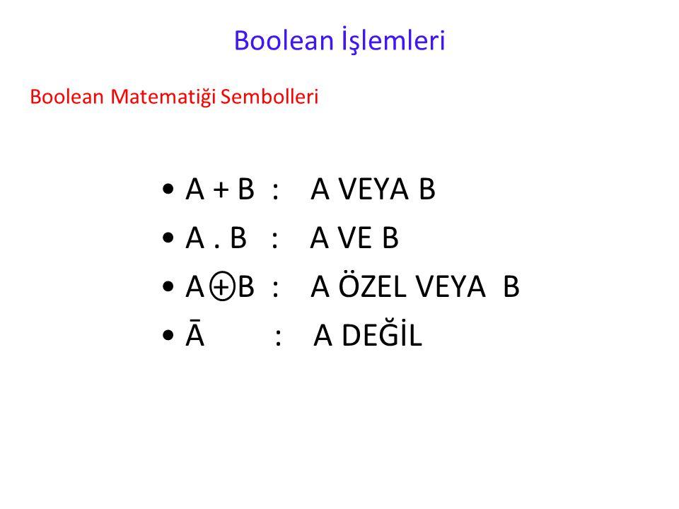 A + B : A VEYA B A . B : A VE B A + B : A ÖZEL VEYA B Ā : A DEĞİL