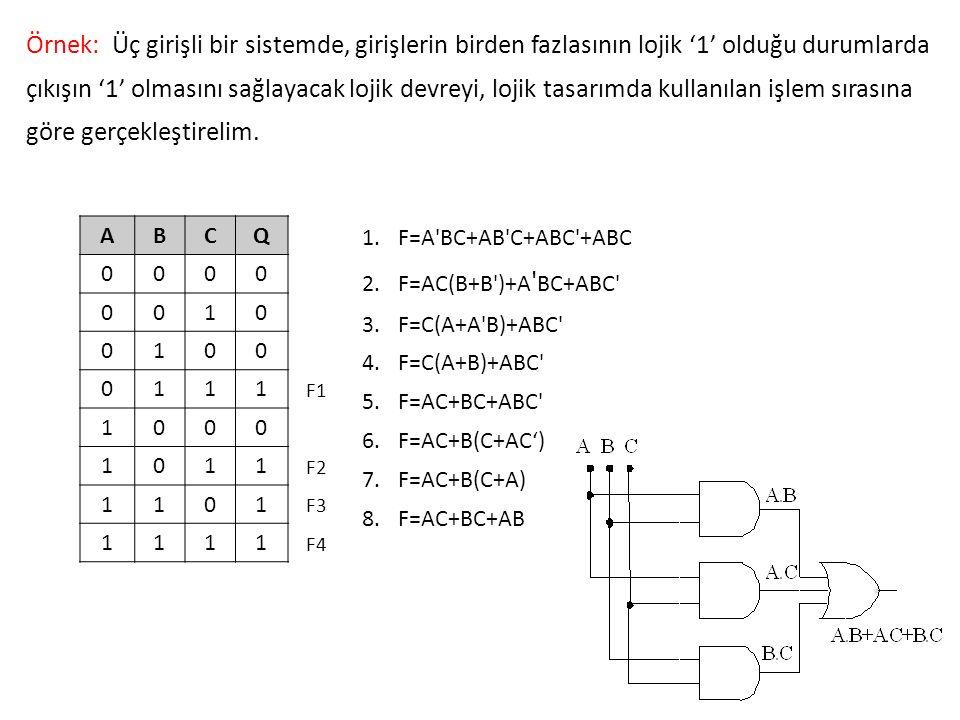 Örnek: Üç girişli bir sistemde, girişlerin birden fazlasının lojik '1' olduğu durumlarda çıkışın '1' olmasını sağlayacak lojik devreyi, lojik tasarımda kullanılan işlem sırasına göre gerçekleştirelim.