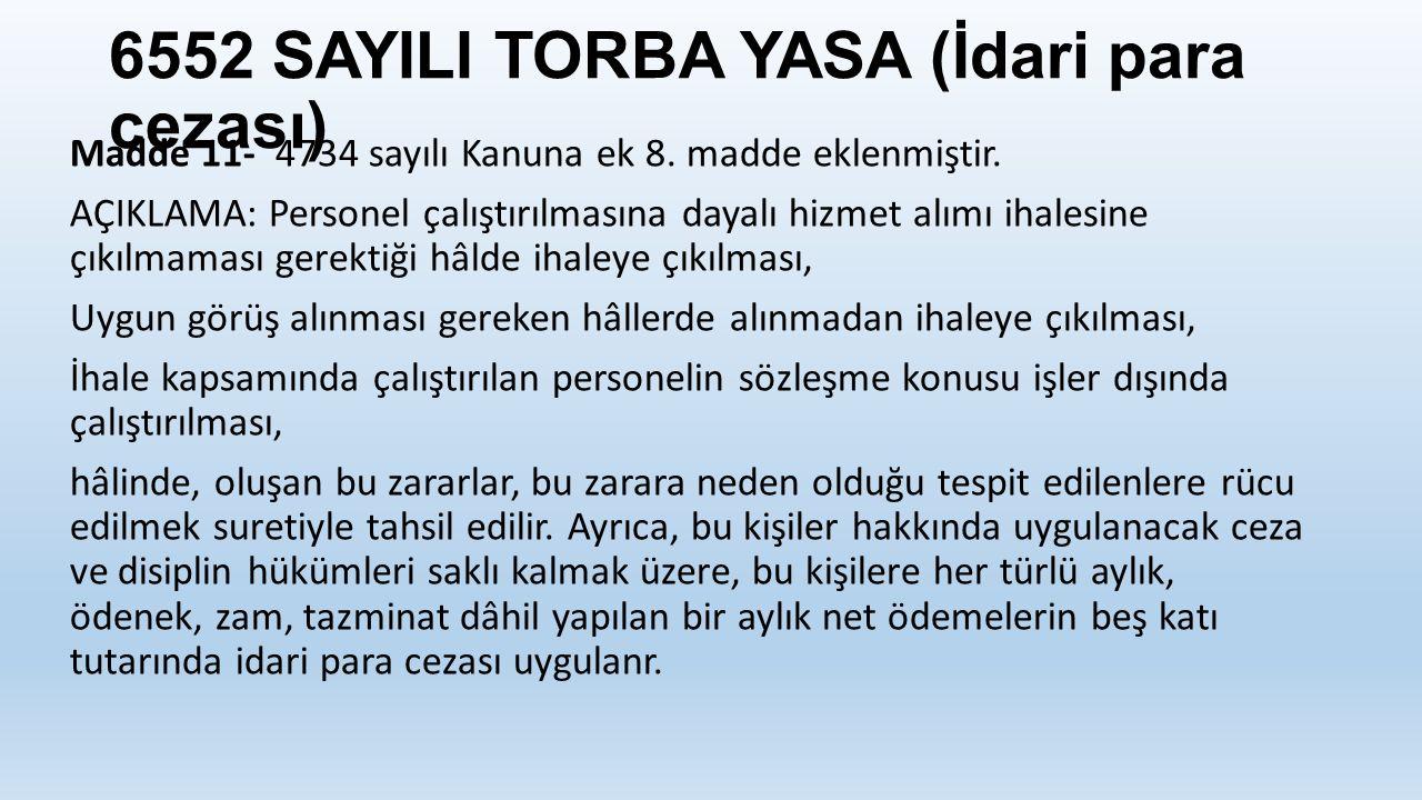 6552 SAYILI TORBA YASA (İdari para cezası)