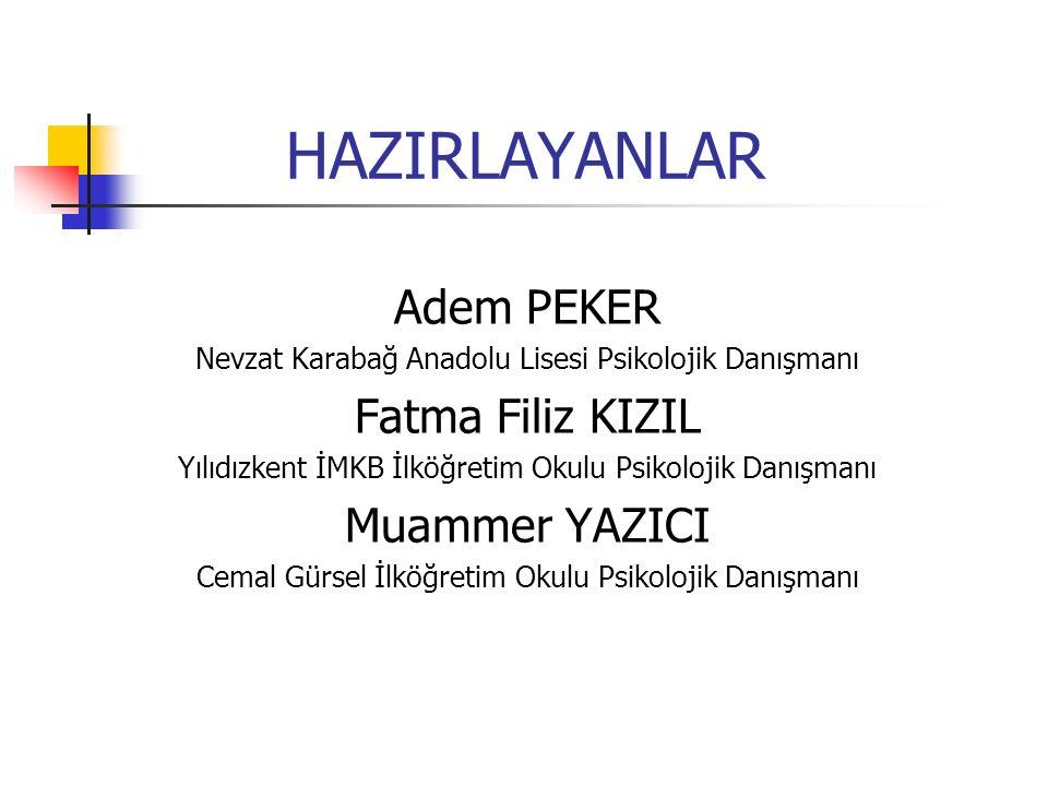 HAZIRLAYANLAR Adem PEKER Fatma Filiz KIZIL Muammer YAZICI