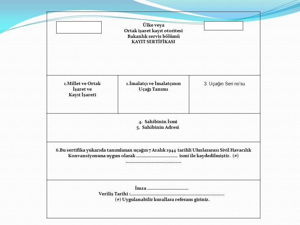 Ortak işaret kayıt otoritesi Bakanlık servis bölümü KAYIT SERTİFİKASI