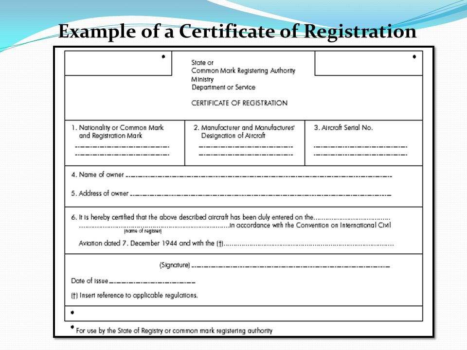 Example of a Certificate of Registration