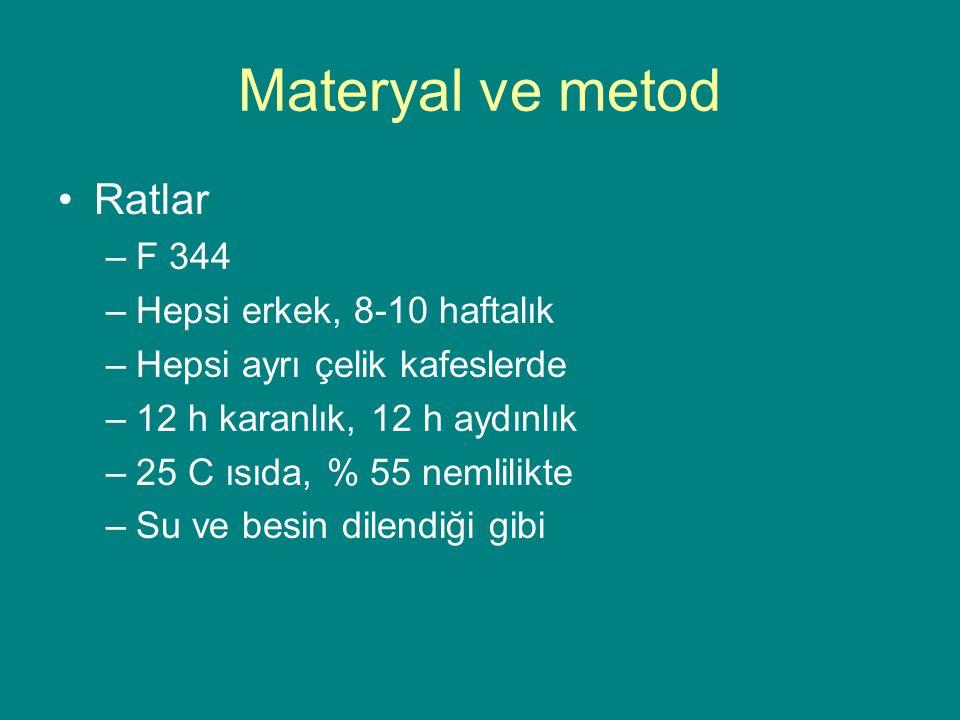 Materyal ve metod Ratlar F 344 Hepsi erkek, 8-10 haftalık