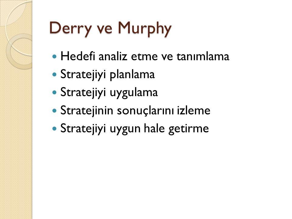 Derry ve Murphy Hedefi analiz etme ve tanımlama Stratejiyi planlama