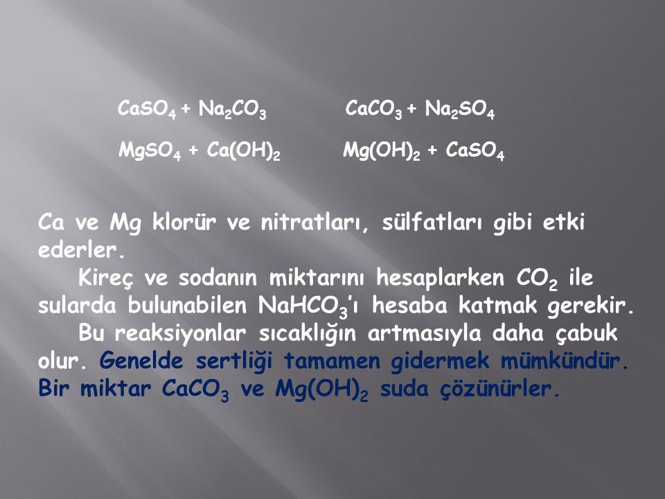 Ca ve Mg klorür ve nitratları, sülfatları gibi etki ederler.