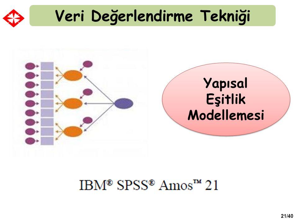 Veri Değerlendirme Tekniği Yapısal Eşitlik Modellemesi