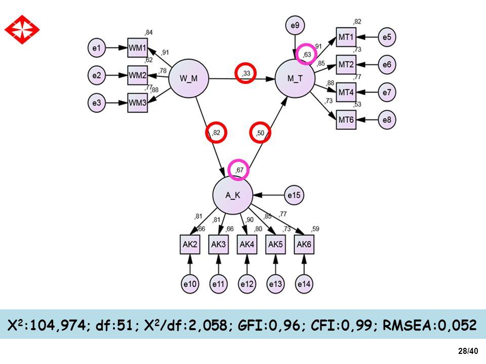 X2:104,974; df:51; X2/df:2,058; GFI:0,96; CFI:0,99; RMSEA:0,052