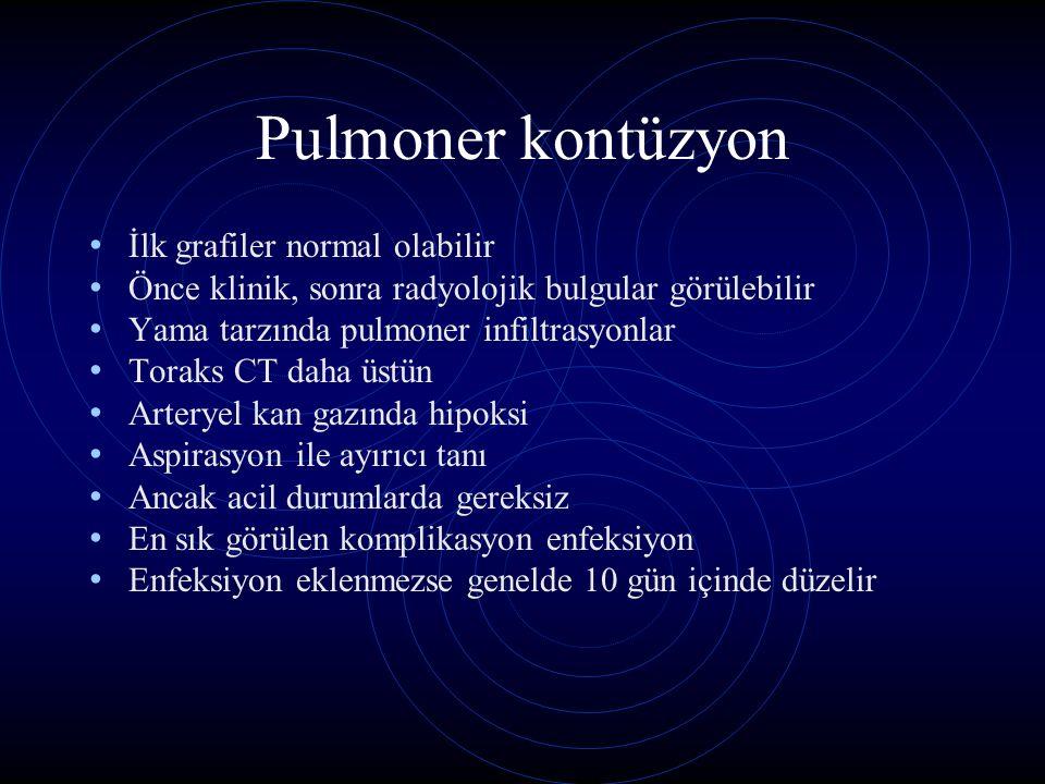 Pulmoner kontüzyon İlk grafiler normal olabilir