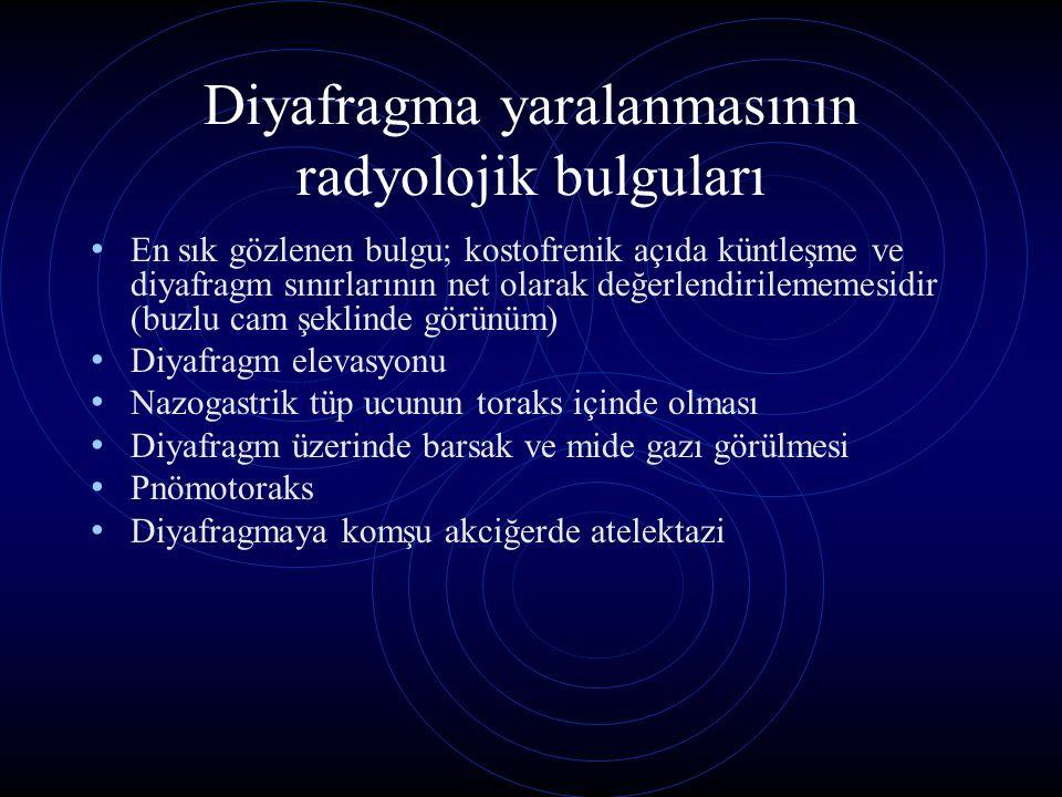 Diyafragma yaralanmasının radyolojik bulguları