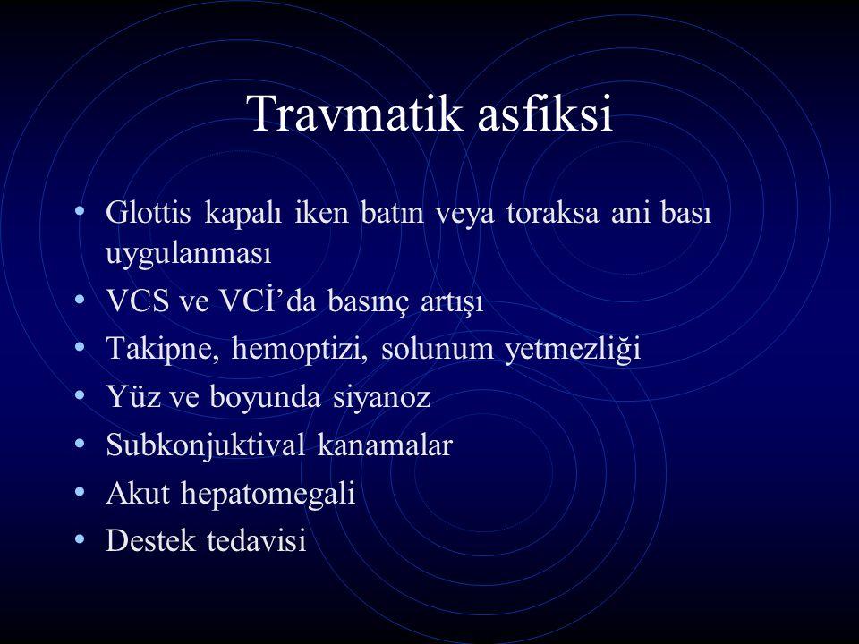 Travmatik asfiksi Glottis kapalı iken batın veya toraksa ani bası uygulanması. VCS ve VCİ'da basınç artışı.