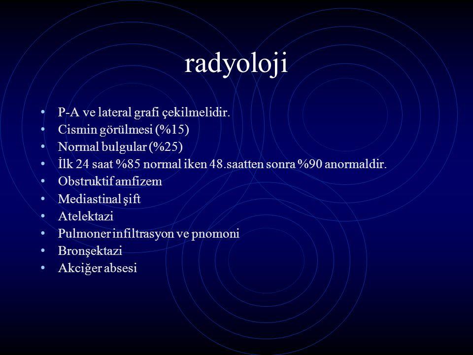 radyoloji P-A ve lateral grafi çekilmelidir. Cismin görülmesi (%15)