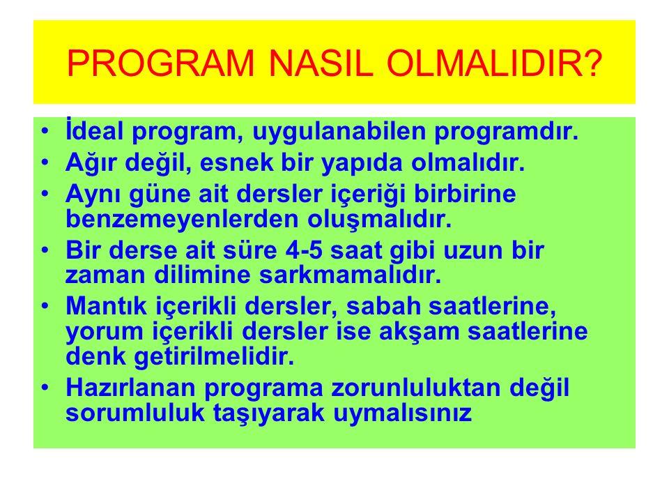PROGRAM NASIL OLMALIDIR