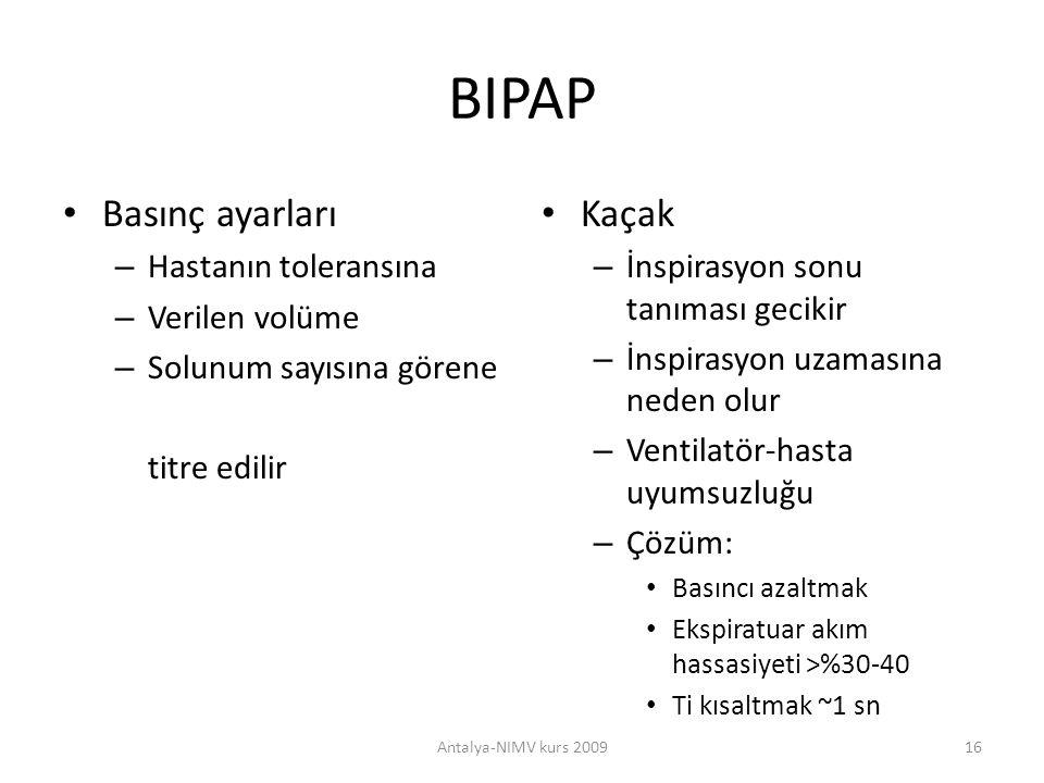 BIPAP Basınç ayarları Kaçak Hastanın toleransına Verilen volüme