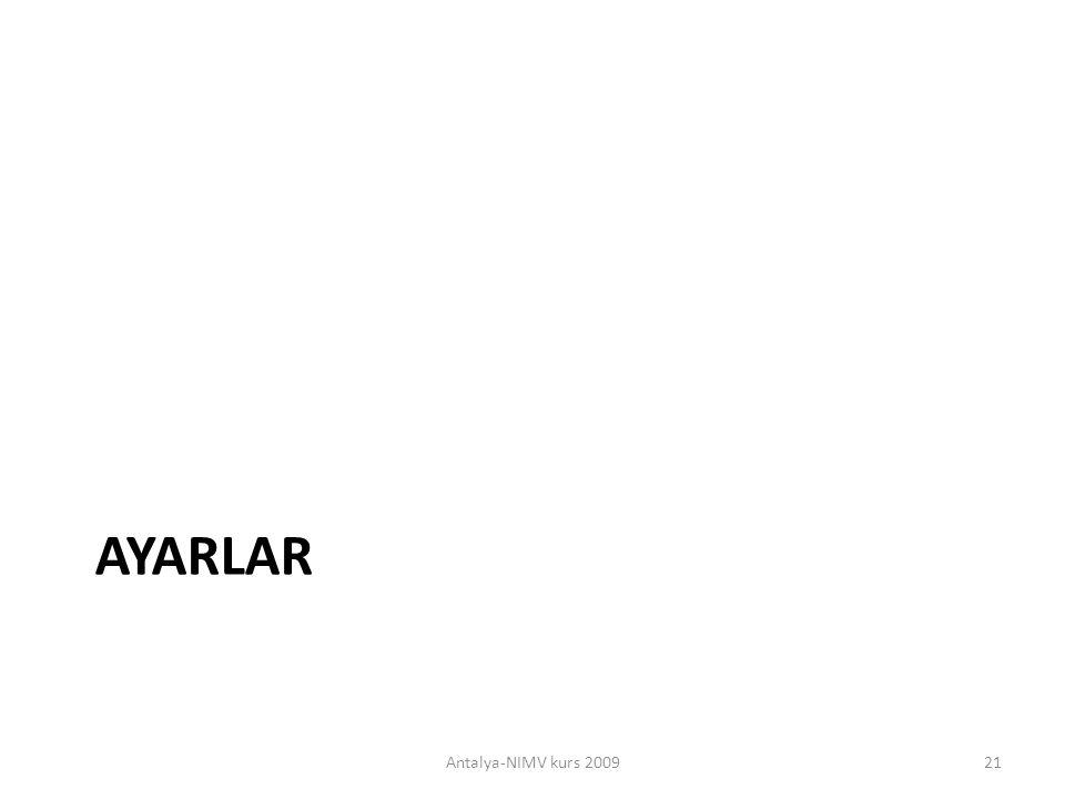 AYARLAR Antalya-NIMV kurs 2009