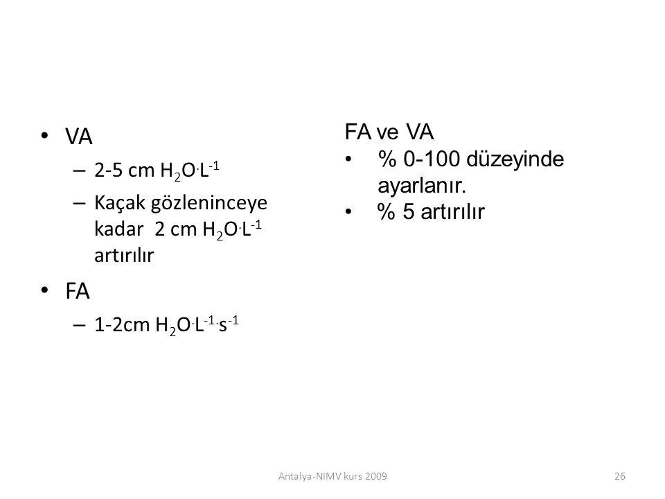 VA FA FA ve VA % 0-100 düzeyinde ayarlanır. 2-5 cm H2O.L-1