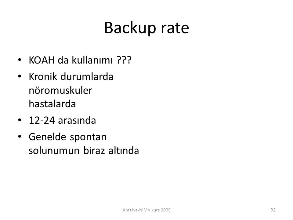 Backup rate KOAH da kullanımı