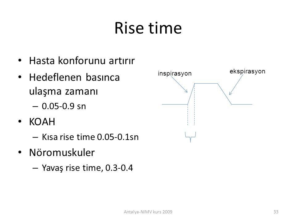 Rise time Hasta konforunu artırır Hedeflenen basınca ulaşma zamanı