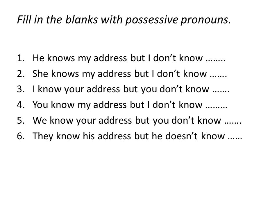 Fill in the blanks with possessive pronouns.