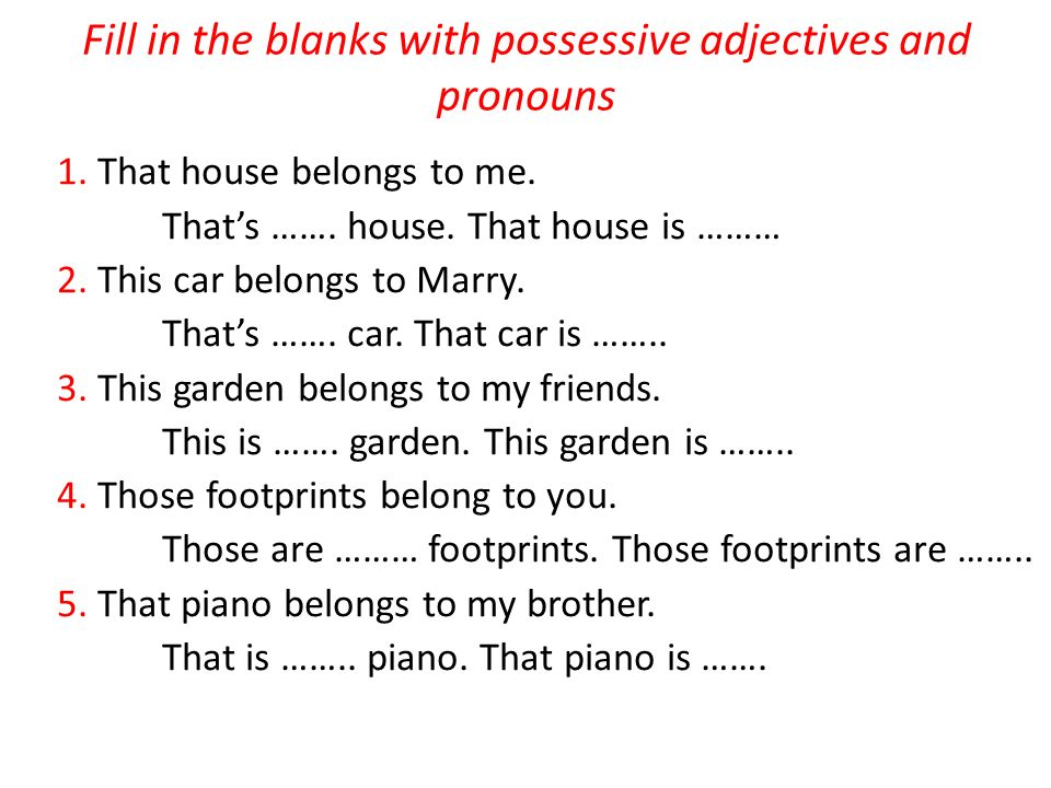 Fill in the blanks with possessive adjectives and pronouns
