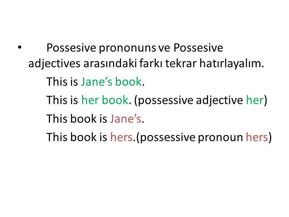Possesive prononuns ve Possesive adjectives arasındaki farkı tekrar hatırlayalım.