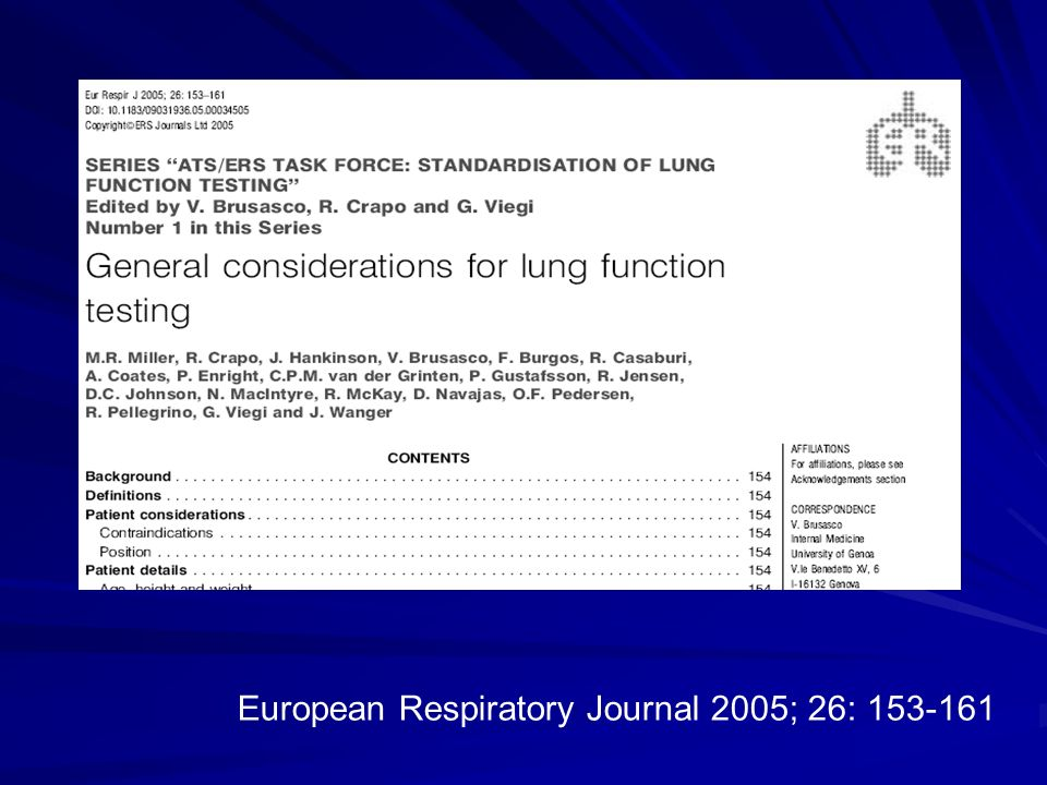 European Respiratory Journal 2005; 26: 153-161