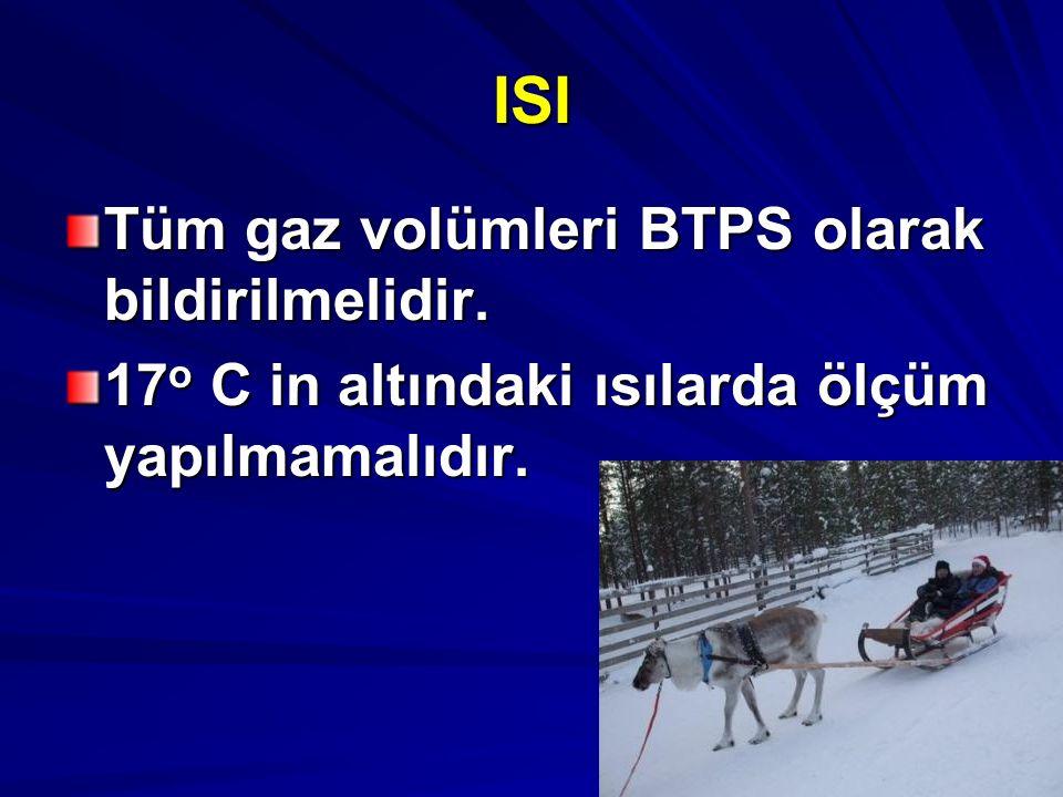 ISI Tüm gaz volümleri BTPS olarak bildirilmelidir.
