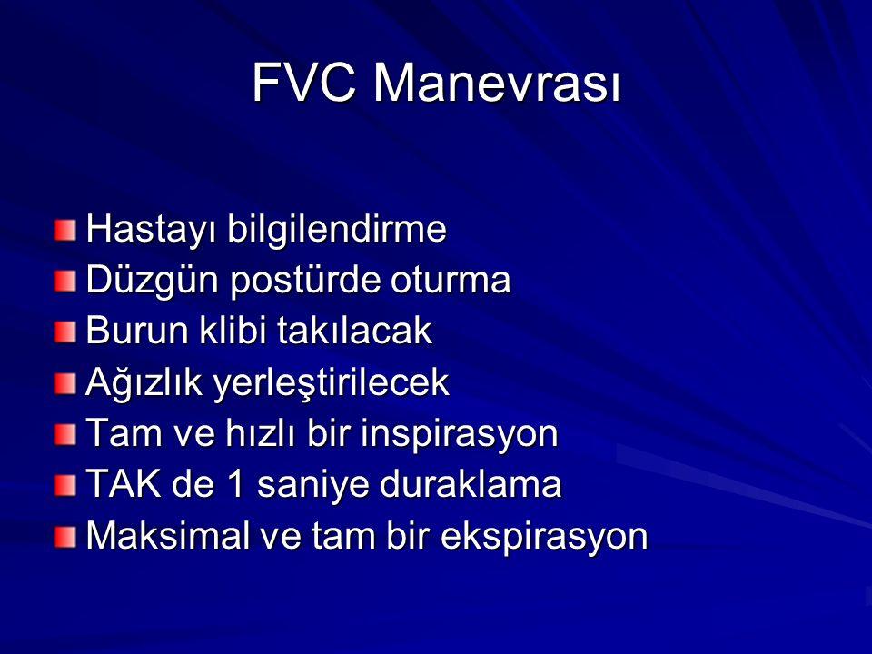 FVC Manevrası Hastayı bilgilendirme Düzgün postürde oturma