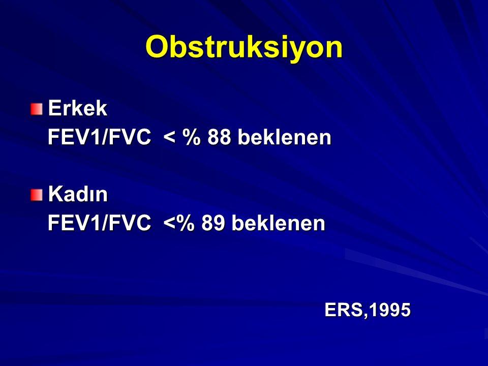 Obstruksiyon Erkek FEV1/FVC < % 88 beklenen Kadın