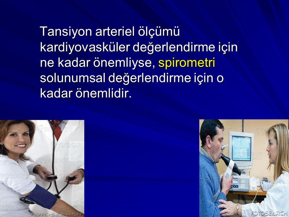 Tansiyon arteriel ölçümü kardiyovasküler değerlendirme için ne kadar önemliyse, spirometri solunumsal değerlendirme için o kadar önemlidir.