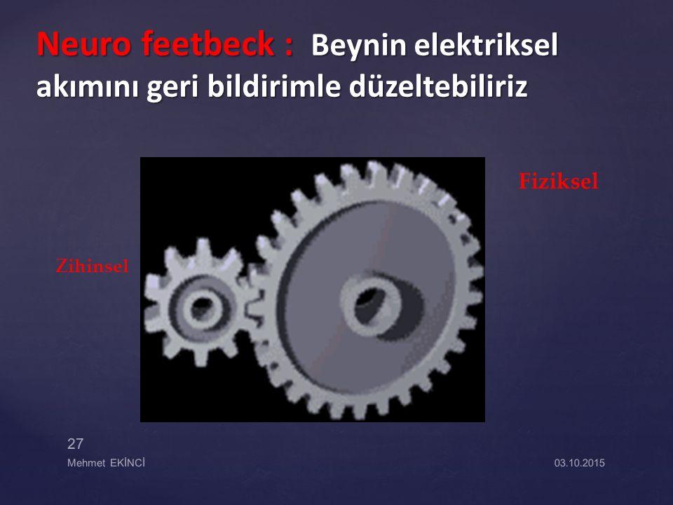 Neuro feetbeck : Beynin elektriksel akımını geri bildirimle düzeltebiliriz