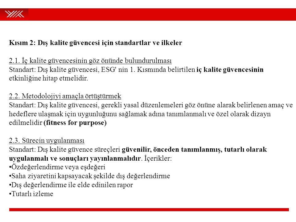 Kısım 2: Dış kalite güvencesi için standartlar ve ilkeler