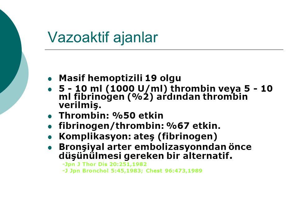 Vazoaktif ajanlar Masif hemoptizili 19 olgu