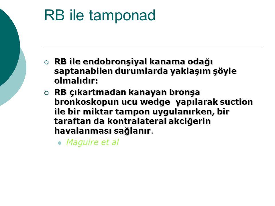 RB ile tamponad RB ile endobronşiyal kanama odağı saptanabilen durumlarda yaklaşım şöyle olmalıdır: