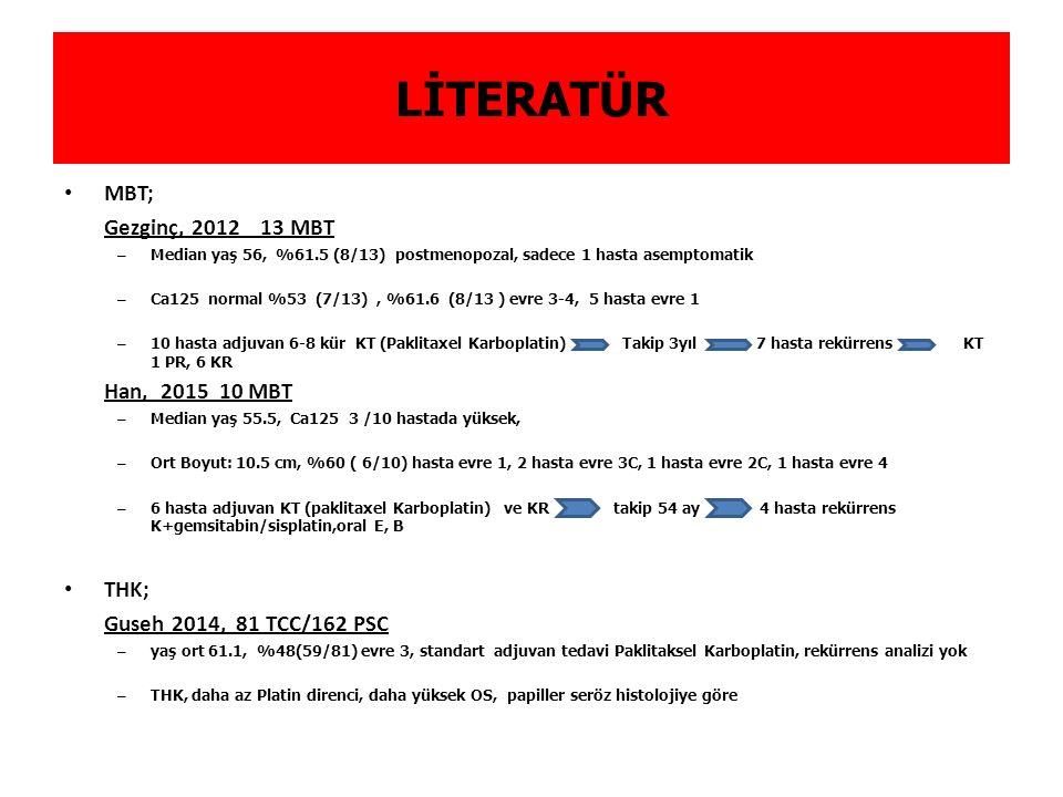 LİTERATÜR MBT; Gezginç, 2012 13 MBT Han, 2015 10 MBT THK;