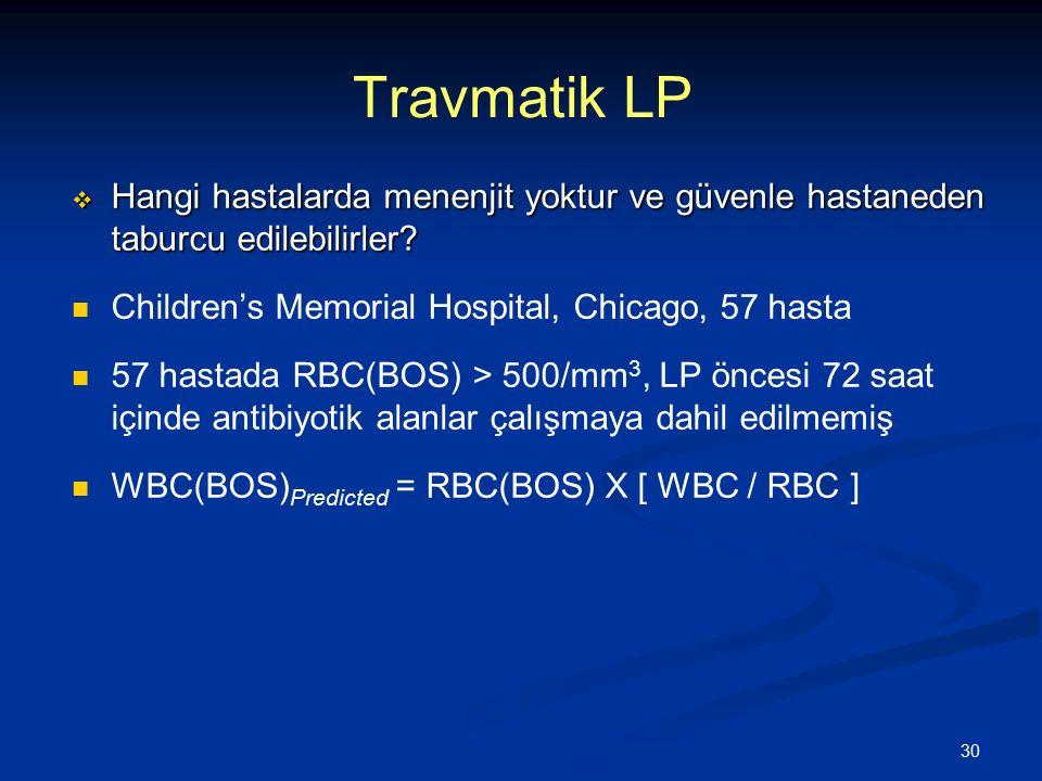 Travmatik LP Hangi hastalarda menenjit yoktur ve güvenle hastaneden taburcu edilebilirler Children's Memorial Hospital, Chicago, 57 hasta.