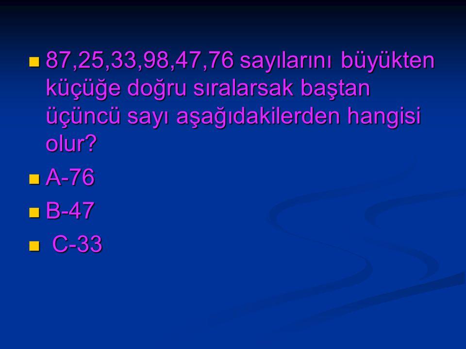 87,25,33,98,47,76 sayılarını büyükten küçüğe doğru sıralarsak baştan üçüncü sayı aşağıdakilerden hangisi olur