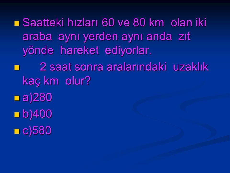 Saatteki hızları 60 ve 80 km olan iki araba aynı yerden aynı anda zıt yönde hareket ediyorlar.
