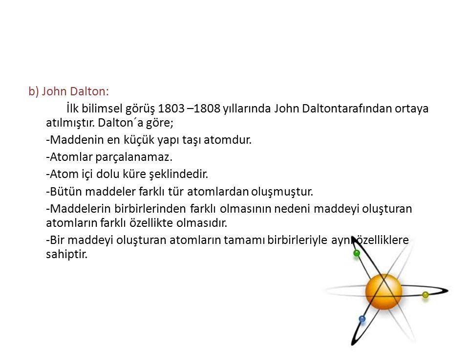 b) John Dalton: İlk bilimsel görüş 1803 –1808 yıllarında John Daltontarafından ortaya atılmıştır.