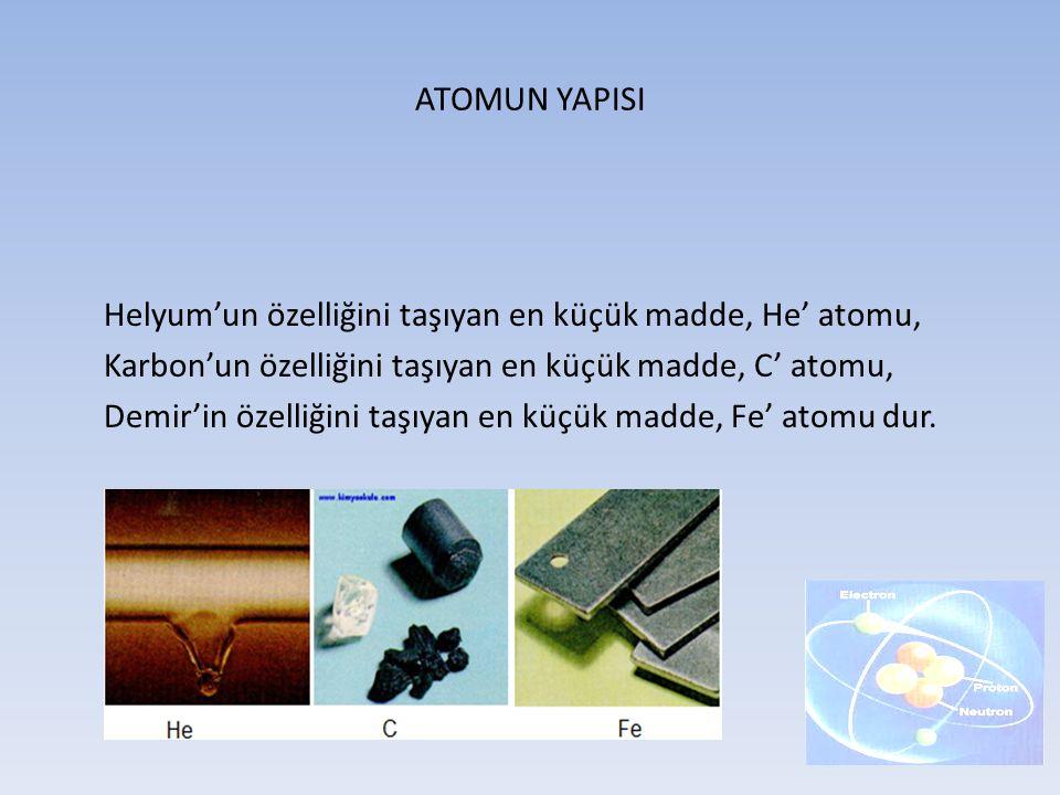 ATOMUN YAPISI Helyum'un özelliğini taşıyan en küçük madde, He' atomu, Karbon'un özelliğini taşıyan en küçük madde, C' atomu,