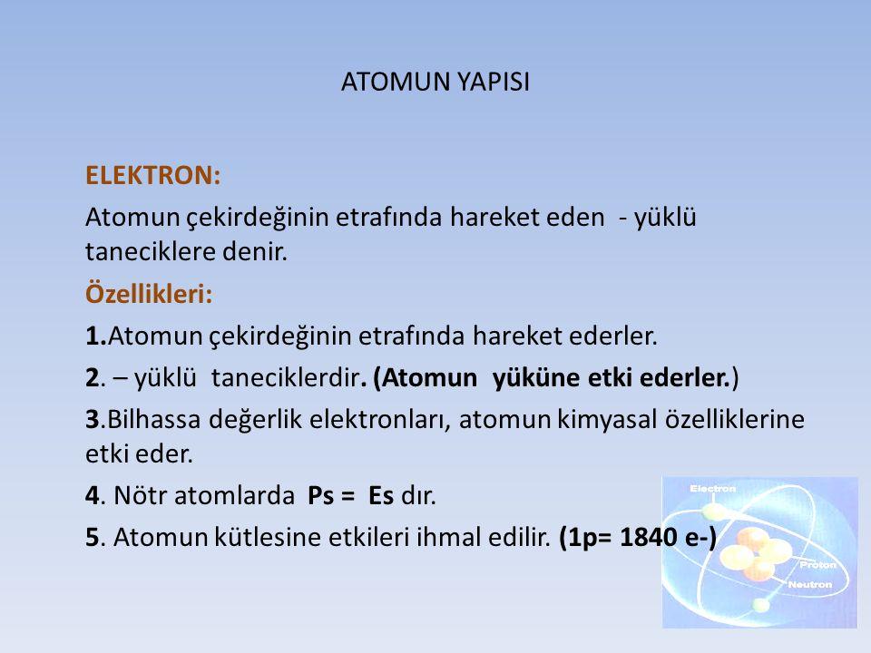 ATOMUN YAPISI ELEKTRON: Atomun çekirdeğinin etrafında hareket eden - yüklü taneciklere denir. Özellikleri: